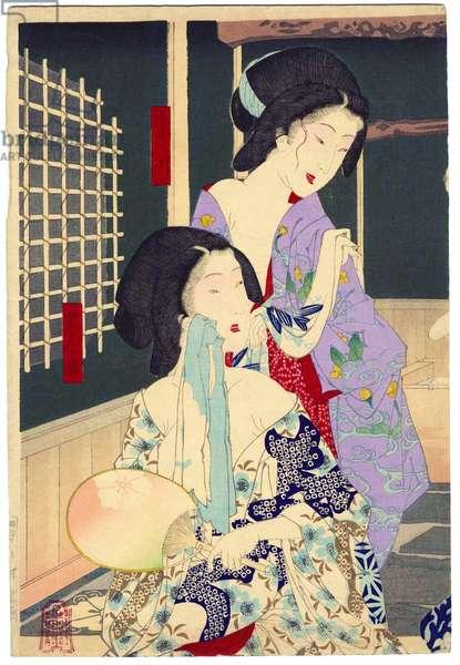Japan: 'Summer: The Daishoro flower garden in Nezu' (left panel of tryptych). Tsukiokoa Yoshitoshi (1839-1892)