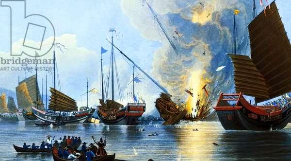China: The First Opium War - The Steamer Nemesis Destroying Chinese War Junks in the Canton River (1842).