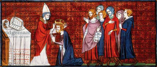 Germany / France: Pope Leo III crowning Charlemagne emperor on Christmas Day, 800; from Chroniques de France ou de Saint-Denis, c. 1450