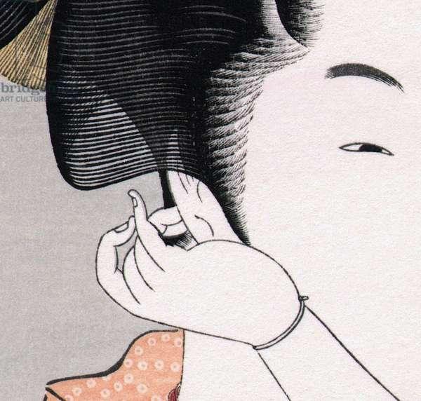 Japan: Detail of a bijin or 'beautiful woman' (see CPA0025504). Utamaro Kitagawa (1753-1806)