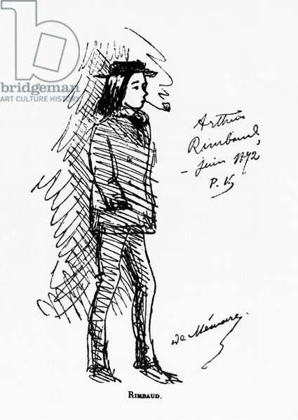 France: A caricature of Arthur Rimbaud (1854 - 1891) drawn by Paul Verlaine (1844 - 1896), c. 1882