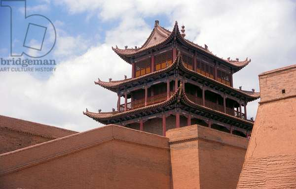 China: Gate tower at Jiayuguan Fort, Gansu Province
