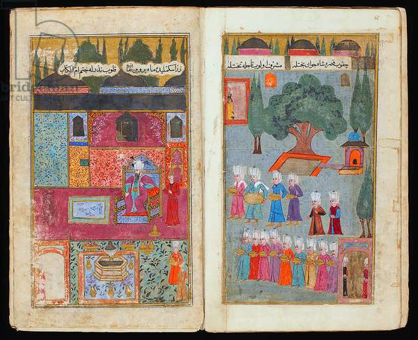 The double miniatures depict the coronation in the Topkapi Palace in 1595 of Mehmed III, Sultan of the Ottoman Empire, from a Manuscript of his Campaign in Hungary, ca. 1600