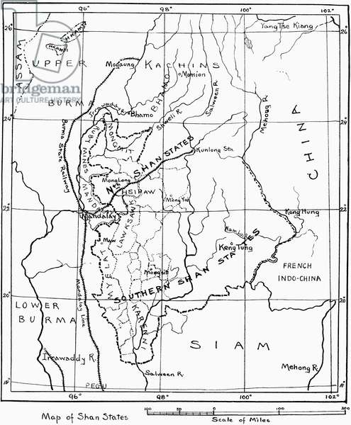 Burma / Myanmar: A hand-drawn map of the Federated Shan States, from Laura E Start, 'Burmese Textiles from the Shan and Kachin Districts', Halifax, 1917