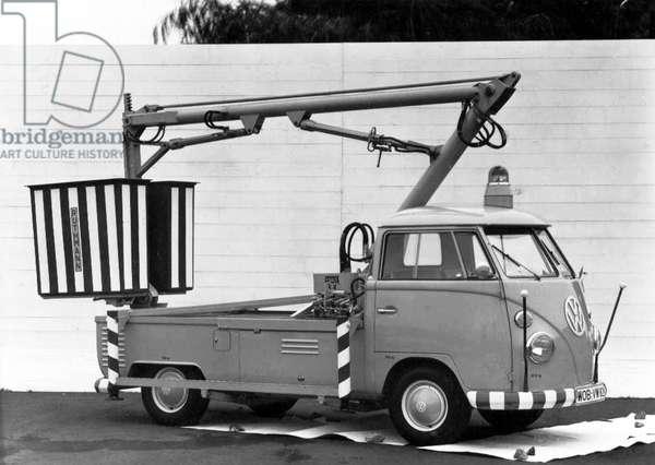 Germany: Volkswagen Bay Window 'Cherry Picker' commercial vehicle, c. 1970