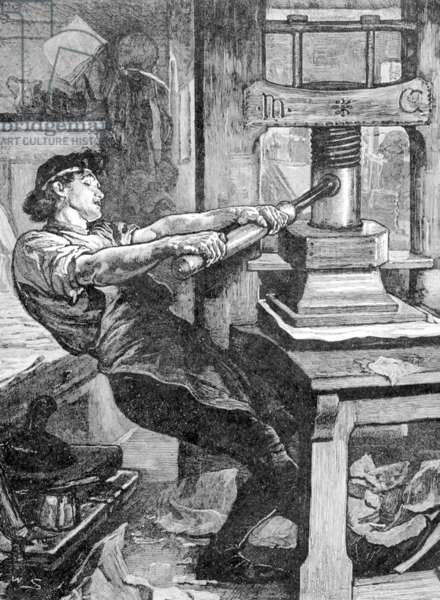 Europe / Germany: A mechanical printing press of the type designed by Johannes Gutenberg, 19th century representation