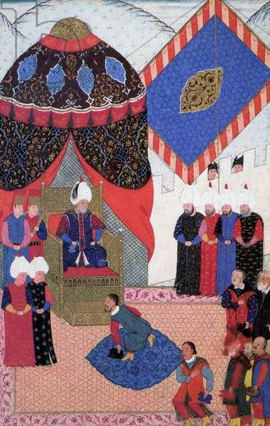 Turkey: 'Sultan Suleyman receiving Stephen Zapolya', from the illuminated manuscript 'Nuzhet El-Esrar el-Ahbar der Sefer-i-Sigetvar' by Ahmed Feridun Pasa, dated 1568-9.
