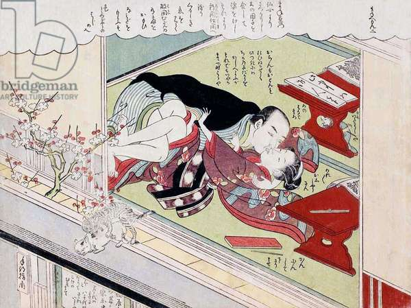 Japan: A tutor seduces his female student while cats copulate on the windlow ledge and diminutive Mane'emon watches from beneath the table. Suzuki Harunobu (1724-1770), 1770