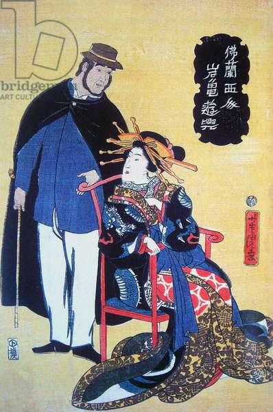 Japan A Frenchman with a Japanese woman, 1861 ukiyo-e painting by Utagawa Yoshitora