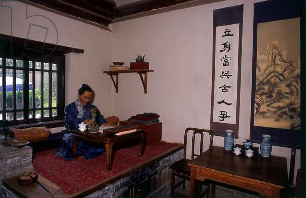 China: The old accommodation used by generals and their families now show tableaux of life back in Ming Dynasty times, Jiayuguan Fort, Jiayuguan, Gansu