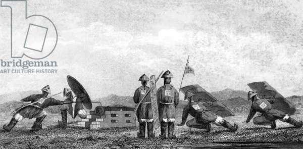 China: Chinese gunners at an artillery battery, First Opium War, 1839-1842