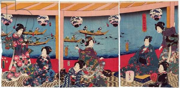 Japan: 'Watching Cormorant Fishing from a Pleasure Boat' (Ukaibune no asobi). Triptych by Utagawa Kunisada (1786-1865), 1852