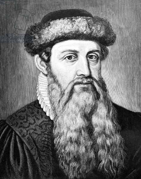 Germany: Johannes Gutenberg (c. 1398 – February 3, 1468) the printer and publisher who introduced the first European printing press, posthumous engraving, 15th Century