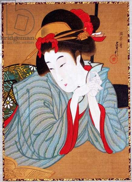 Japan: 'Bijinga' (Beautiful Woman), Hasegawa Sadanobu II (1848 - 1940), c. 1880