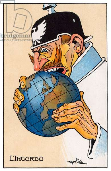 Italy / Germany: World War I propaganda poster showing German Emperor Wilhelm II as  'L'Ingordo' ('The Glutton') biting into the globe, 1915