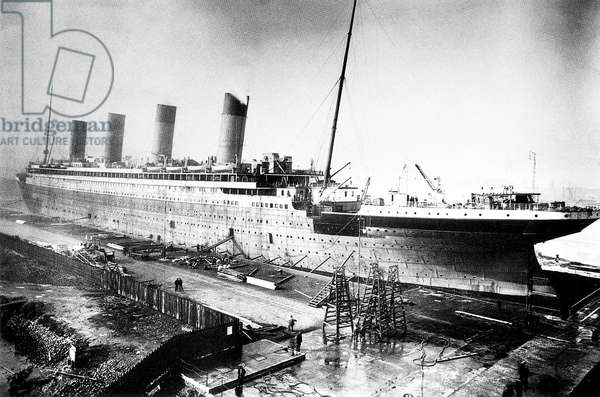UK: RMS Titanic being fitted out at Harland and Wolf Shipyard, Belfast, 1911-1912