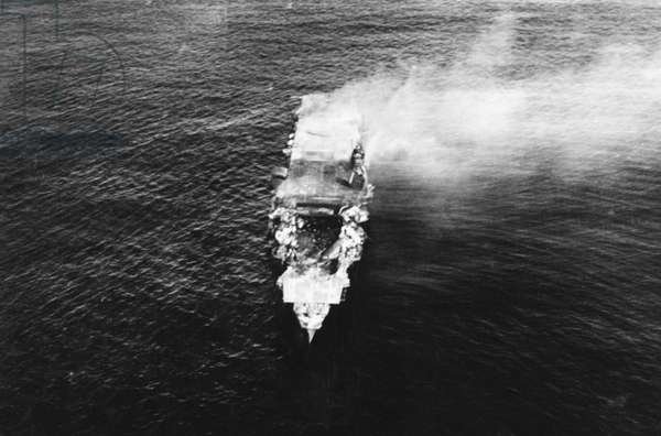 Japan: Imperial Japanese Navy aircraft carrier 'Hiryu' abandoned, but still afloat, after a scuttling attempt after the Battle of Midway, 5 June 1942