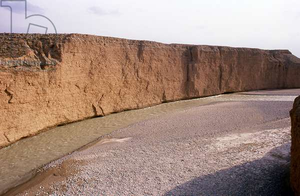 China: The Taolai River Gorge marking the end of the Ming Great Wall near Jiayuguan Fort