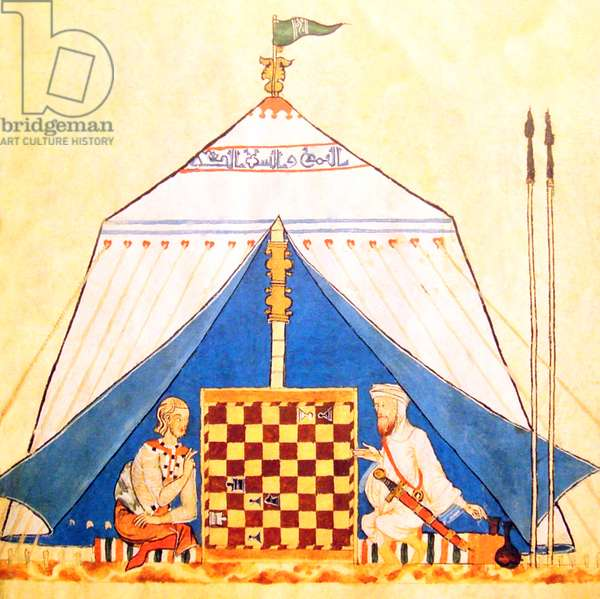Spain / Al-Andalus: A Christian and a Muslim playing chess, from the 'Book of Games, Dice and Tables', Alfonso X of Castile (r. 1252-1284)