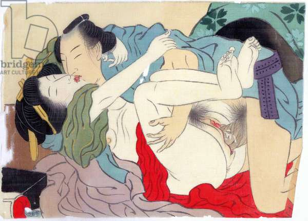 Japan: Man and woman making love. Shunga painting on paper and silk, Meiji period (1868-1912), c. 1900