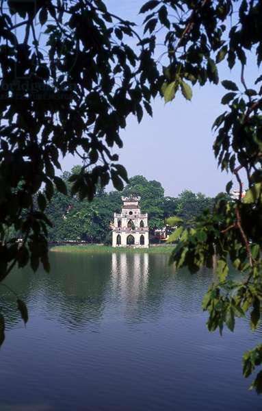 Vietnam: Thap Rua (Tortoise Tower) Ho Hoan Kiem, Hanoi