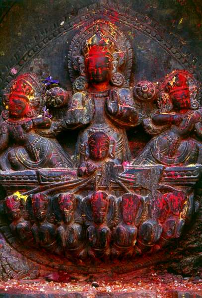 Nepal: The Hindu god Surya (the Supreme Light) riding his chariot harnessed to seven horses, Kathmandu Valley