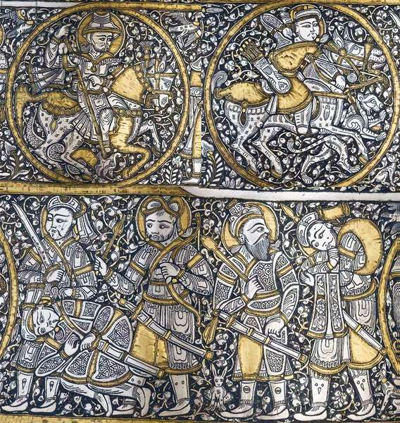 Egypt: Plaque in gold and silver metalwork showing Mamluk soldiers, c. 1350