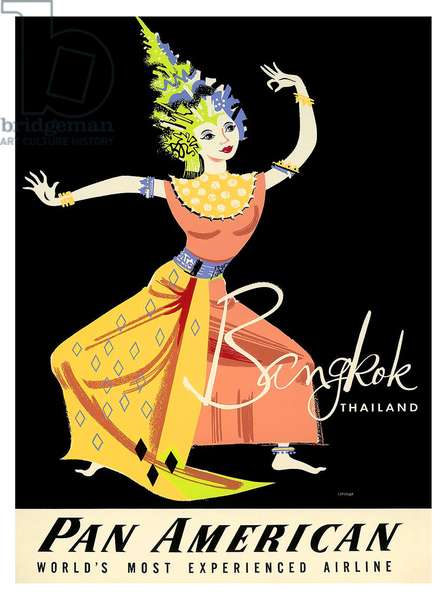Vintage Pan American Airways poster for Bangkok, c.1950 (colour litho)