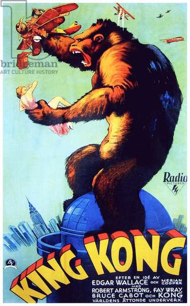 USA: Advertising poster for the movie 'King Kong' (1933) starring Fay Wray, Bruce Cabot and Robert Armstrong, 1933