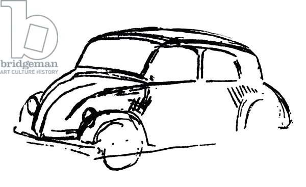 Germany: Adolf Hitler's original sketch for a Volkswagen Beetle, Munich, 1932