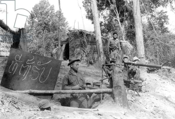 Laos: Perimeter outpost at Ban Na CIA base during the American 'Secret War' in Laos, c. 1963