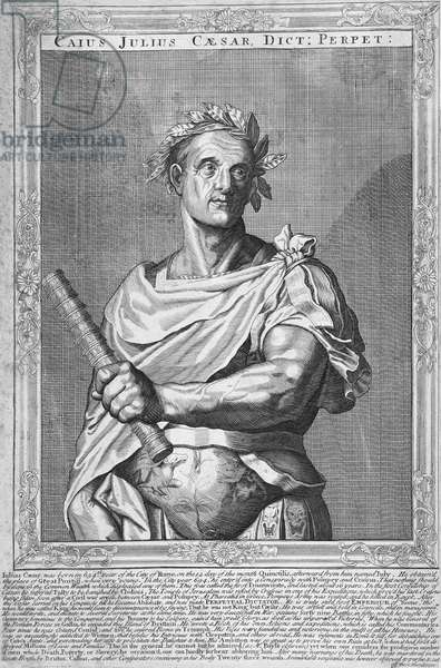 Italy / Holland: 'Julius Caesar, Emperor of Rome' (100-44 BCE), line engraving by Aegidus Sadeler (Netherlands, 1570-1629), after Titian, 17th Century