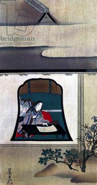 Japan: Sei Shonagon (c. 966-1017) Japanese author and court lady of the middle Heian Era, best known as the author of 'The Pillow Book' ('Makura no Sosh'), Katsushika Hokusai (1760-1849), c. 1820