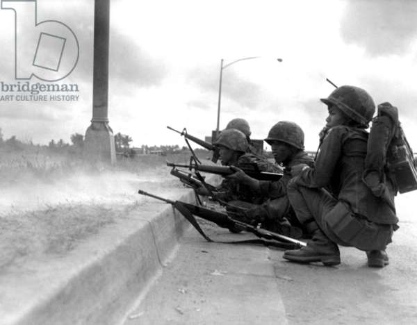 Vietnam: Army of the Republic of Vietnam (ARVN) rangers defending Saigon during the Tet Offensive of January-February 1968