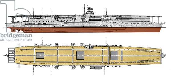 Japan: Diagram of the Imperial Japanese aircraft carrier Akagi, 1925