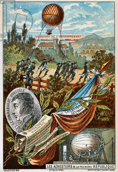 France: Early Flight - 'Transport de l'Entreprenant de Maubeuge a Charleroi, 1794' (Transport of the balloon, 'The Enterprising', from Mauberge to Charleroi,  1794), Paris, Romanet, c. 1895