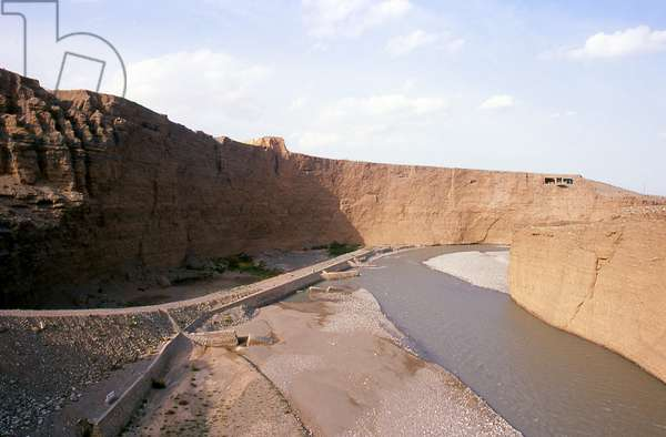 China: First Beacon Tower and the Taolai River Gorge, the end of the Ming Great Wall near Jiayuguan Fort