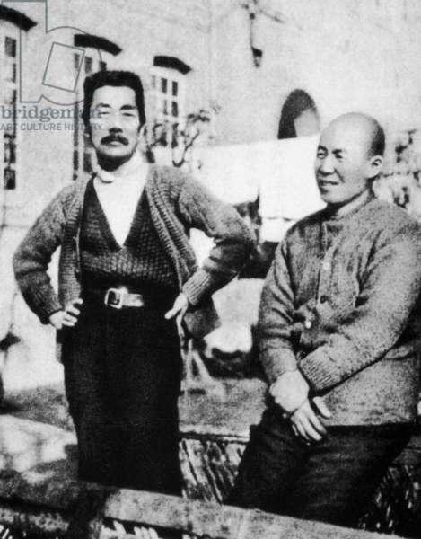 China: The writer Lu Xun together with his close Japanese friend Uchiyama Kanzo in Shanghai, c. 1932
