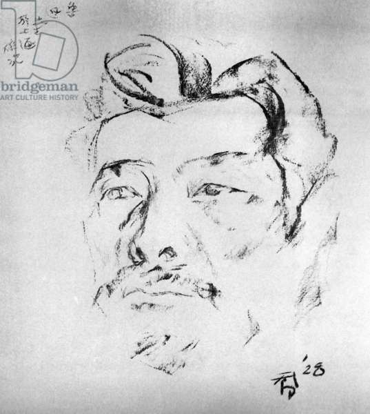 China: A sketch of the writer and social critic Lu Xun (1881-1936) at Shanghai, 1928, by Situ Qiao (1902-1958)