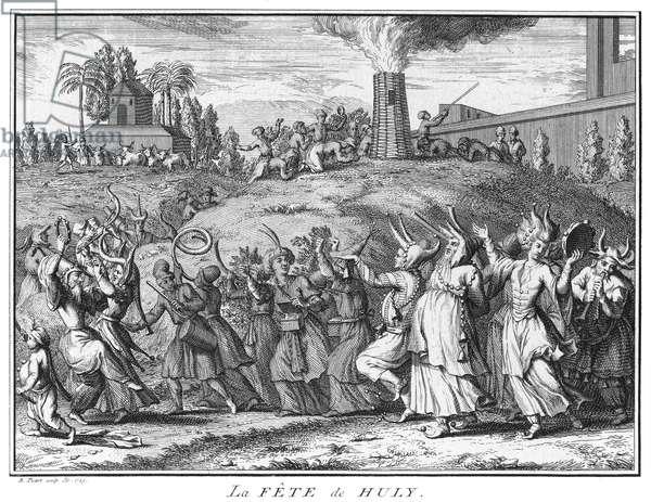 India / France: 'La Fete de Huly' (The Feast of Huly [Holi]), engraving, Bernard Picart (1673 - 1733), 1723