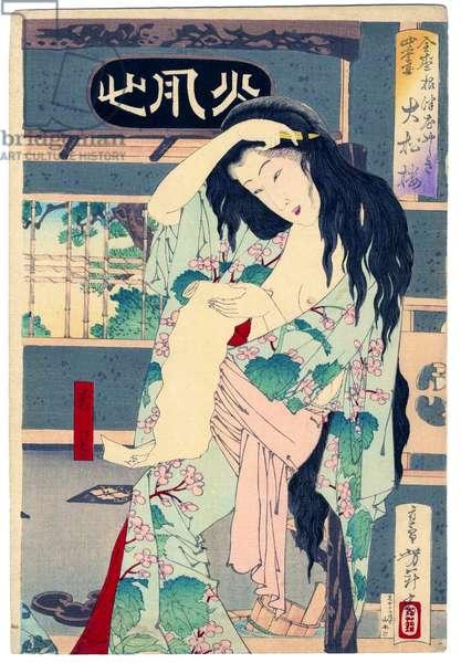 Japan: 'Summer: The Daishoro flower garden in Nezu' (right panel of tryptych). Tsukiokoa Yoshitoshi (1839-1892)