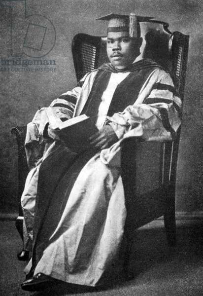 Jamaica: Marcus Garvey (1887-1940), Pan Africanist and Jamaican national hero, as college graduate, London, c. 1914