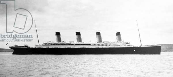 UK: RMS Titanic in Cork harbour, Ireland, 11 April 1912, four days prior to the tragedy