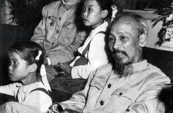 Vietnam: President Ho Chi Minh with Vietnamese school children.