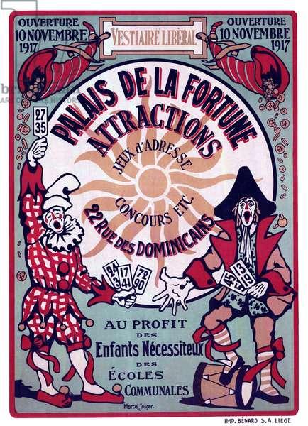 Belgium: 'Palais de la Fortune'. First World War propaganda poster for needy children, Liege, c. 1917