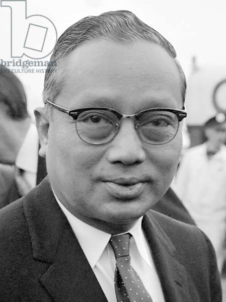 Burma / Myanmar: U Thant (1909-1974), 3rd Secretary-General to the United Nations (1961-1971) at Schiphol Airport, Netherlands. Jac de Nijs, 1 July 1963