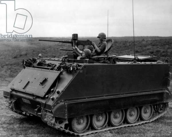 Vietnam: Army of the Republic of Vietnam (ARVN) troops in a M113 armoured vehicle.
