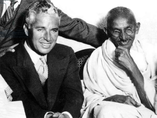 India: Mohandas Karamchand Gandhi (1869-1948), pre-eminent political and ideological leader of India's independence movement, with Charlie Chaplin (London, 1931)