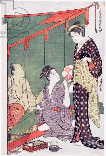Japan: 'Man under a Mosquito Net with Two Women', from the series 'Contest of Contemporary Beauties of the Pleasure Quarters'. Torii Kiyonaga (1752-1815), 1784
