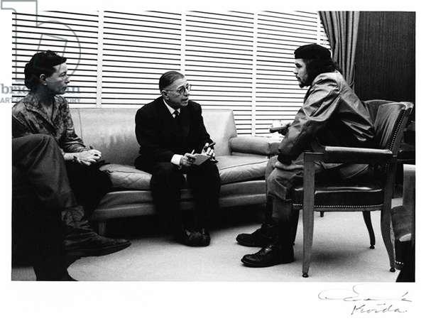 Cuba: Jean-Paul Sartre and Simone De Beauvoir meeting with Ernesto Che Guevara, Havana, 1960